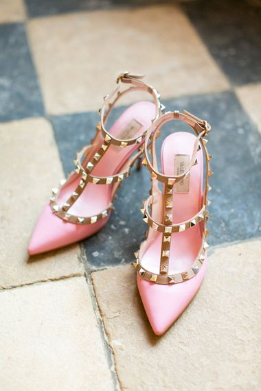 Pink Valentino Rockstud Wedding Shoes | Spring Equinox at Thorpe Manor Wedding Venue by Revival Rooms | Anneli Marinovich Photography