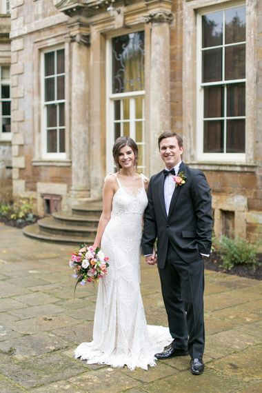 Bride in Daughters of Simone Gown | Groom in Black Tie | Spring Equinox at Thorpe Manor Wedding Venue by Revival Rooms | Anneli Marinovich Photography