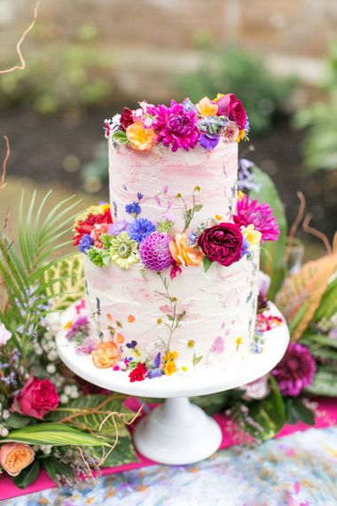 Bright Floral  Wedding Cake by Blushing Cook | Spring Equinox at Thorpe Manor Wedding Venue by Revival Rooms | Anneli Marinovich Photography