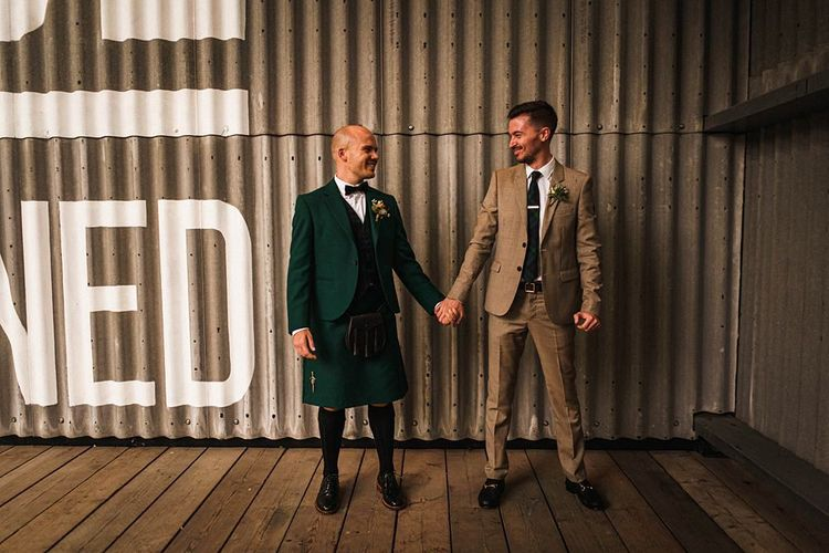 Grooms at London wedding at  Trinity Buoy Wharf
