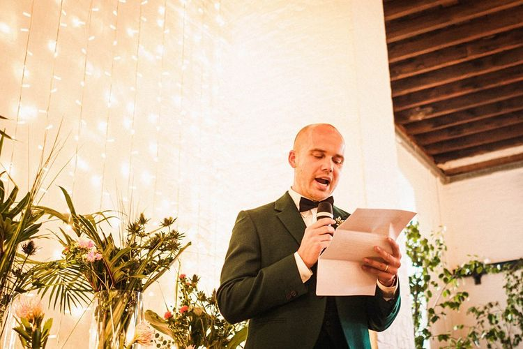 Groom wedding speeches at  Trinity Buoy Wharf