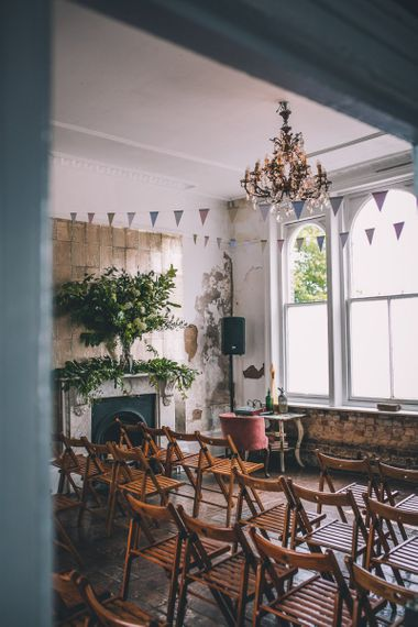 Colourful bunting styling for The Roost Dalston Wedding Ceremony in London