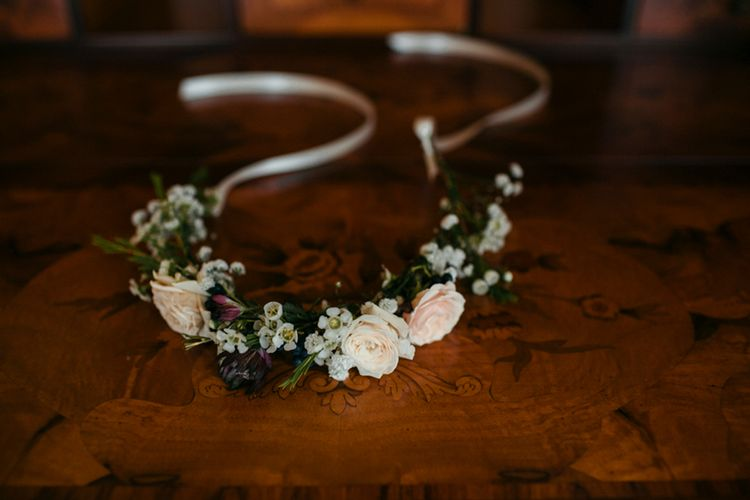 Flower Crown | Elegant Blush Pink & White Destination Wedding at Hotel La Palma, Stresa Italy, Planned by Princess Wedding | Berni Photography
