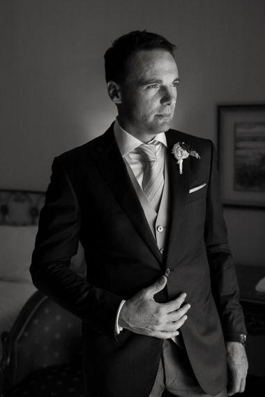 Groom in Corneliani Suit | Elegant Blush Pink & White Destination Wedding at Hotel La Palma, Stresa Italy, Planned by Princess Wedding | Berni Photography