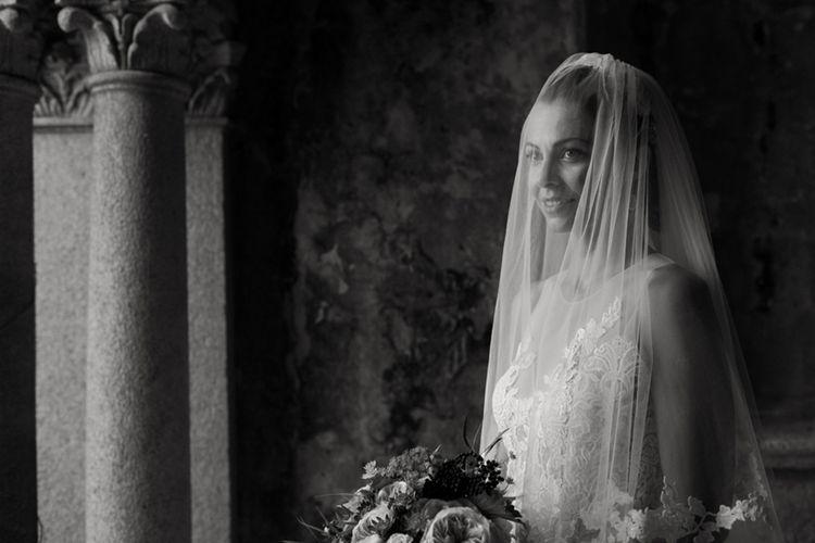 Bride in Nora Sarman Gown & Jimmy Choo Shoes | Elegant Blush Pink & White Destination Wedding at Hotel La Palma, Stresa Italy, Planned by Princess Wedding | Berni Photography