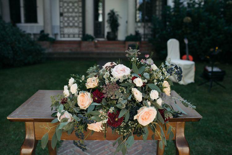 Pink Rose Floral Arrangement  | Groom in Corneliani Suit | Elegant Blush Pink & White Destination Wedding at Hotel La Palma, Stresa Italy, Planned by Princess Wedding | Berni Photography