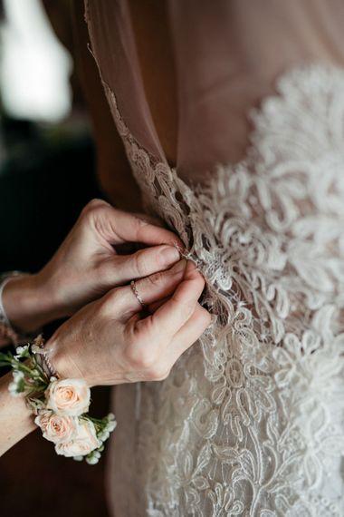 Wedding Morning | Bridal Preparations | Bride in Nora Sarman Gown & Jimmy Choo Shoes | Elegant Blush Pink & White Destination Wedding at Hotel La Palma, Stresa Italy, Planned by Princess Wedding | Berni Photography