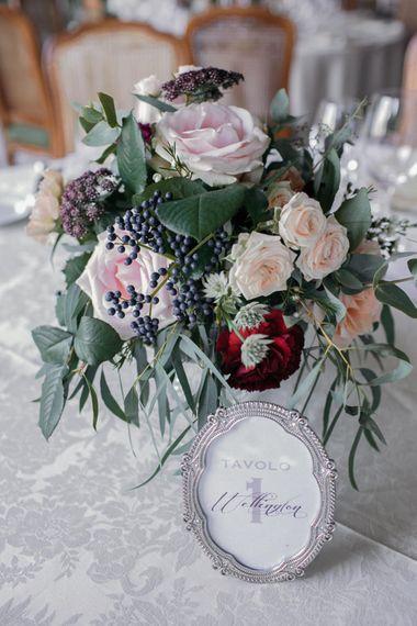 Blush Rose Table Flowers | Elegant Blush Pink & White Destination Wedding at Hotel La Palma, Stresa Italy, Planned by Princess Wedding | Berni Photography