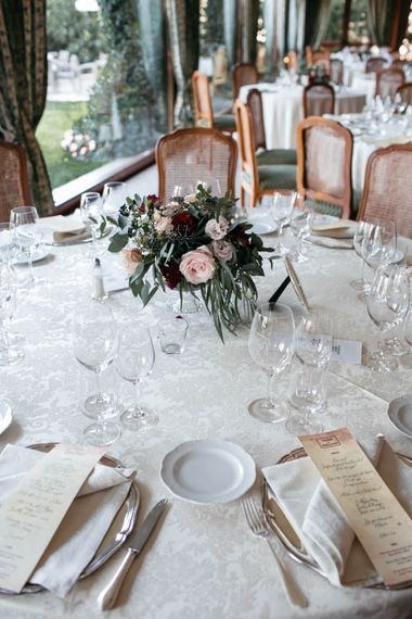 Floral Centrepiece | Elegant Blush Pink & White Destination Wedding at Hotel La Palma, Stresa Italy, Planned by Princess Wedding | Berni Photography