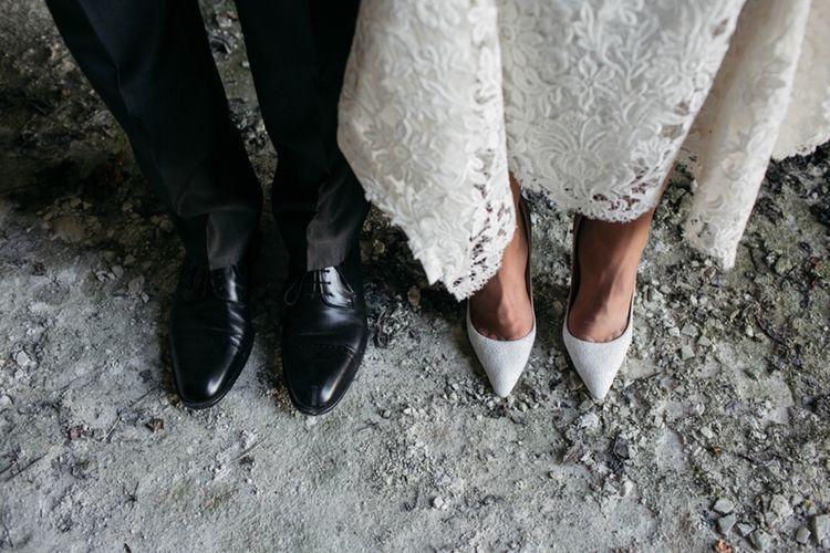 Bride in Nora Sarman Gown & Jimmy Choo Shoes | Groom in Corneliani Suit | Elegant Blush Pink & White Destination Wedding at Hotel La Palma, Stresa Italy, Planned by Princess Wedding | Berni Photography