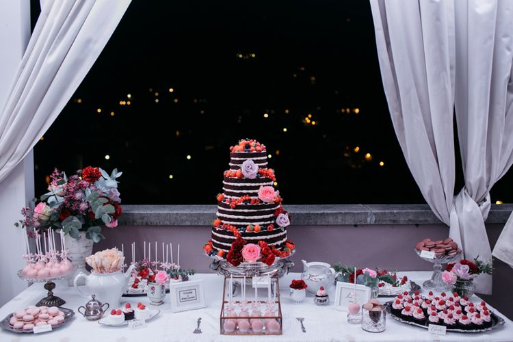 Naked Chocolate Wedding Cake | Dessert Table | Elegant Blush Pink & White Destination Wedding at Hotel La Palma, Stresa Italy, Planned by Princess Wedding | Berni Photography