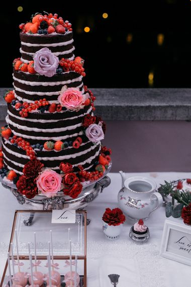 Naked Chocolate Wedding Cake with Flower Decor | Elegant Blush Pink & White Destination Wedding at Hotel La Palma, Stresa Italy, Planned by Princess Wedding | Berni Photography