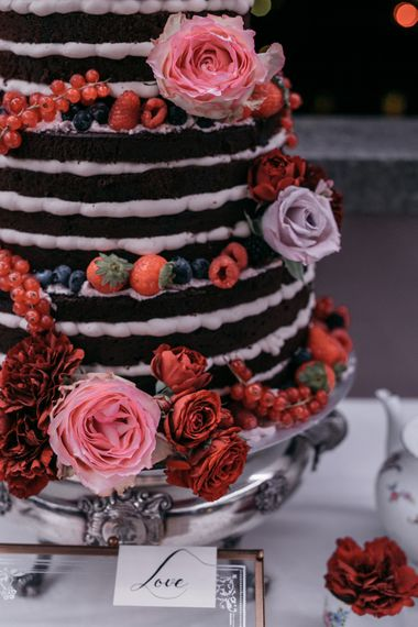 Naked Chocolate Wedding Cake | Elegant Blush Pink & White Destination Wedding at Hotel La Palma, Stresa Italy, Planned by Princess Wedding | Berni Photography