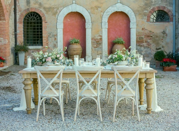 Rustic Tablescape with Romantic Pink and White Flowers