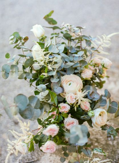 White Ranunculus, Pink Flower and Eucalyptus Wedding Flowers