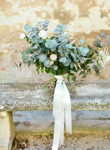 White Ranunculus, Pink Flower and Eucalyptus Wedding Bouquet with Ribbon