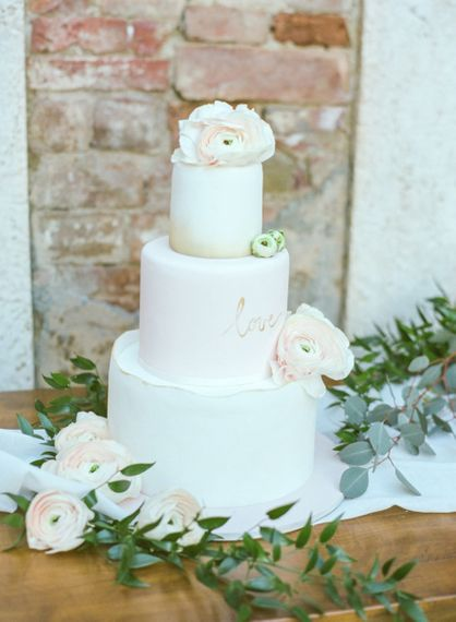 White, Pink and Ombre Royal Icing Wedding Cake with Flowers