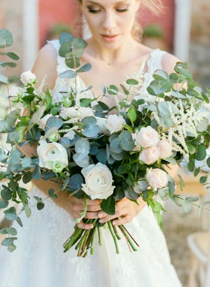 Romantic Wedding Bouquet with Eucalyptus, Ranunculus and Astilbe