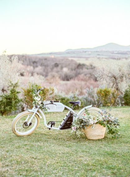 Vintage Bicycle Decorated with Romantic Wedding Flowers
