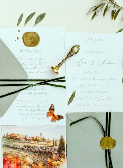 Calligraphy Wedding Stationery with Wax Seal