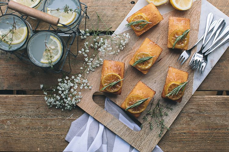 Mini Lemon Drizzle Loaves With Preserved Lemon & Herb Garnish Served With Spiked Cloudy Lemonade