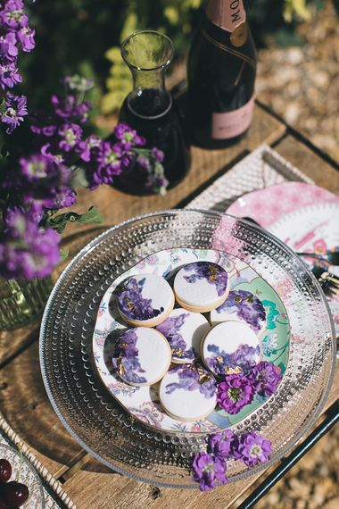 Handpainted Iced Biscuits With Champagne For Wedding Guests