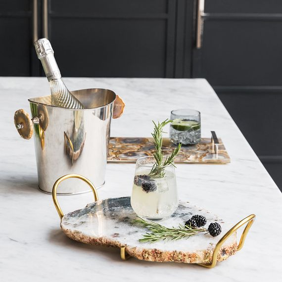 Agate Slab Tray & Champagne Ice bucket