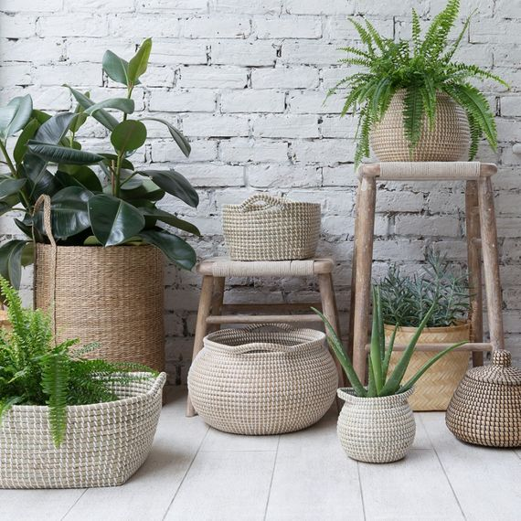 Multiple Natural Wicker Baskets
