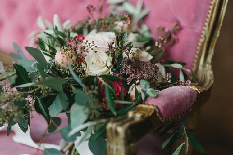 Wedding Bouquet Flowers | Blush & Burgundy Floral Fairytale Wedding Inspiration at Grittleton House Planned & Styled by Jennifer Louise Weddings | Katherine Yiannaki Photography