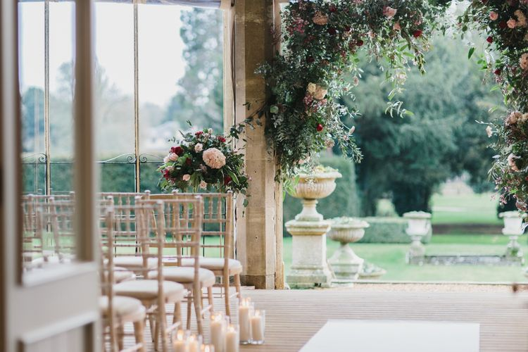 Ceremony Room | Floral Arch Altar | Blush & Burgundy Floral Fairytale Wedding Inspiration at Grittleton House Planned & Styled by Jennifer Louise Weddings | Katherine Yiannaki Photography