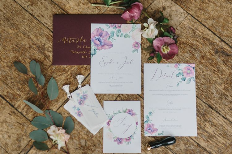 Wedding Stationery Suite by Rebecca Richards Designs | Blush & Burgundy Floral Fairytale Wedding Inspiration at Grittleton House Planned & Styled by Jennifer Louise Weddings | Katherine Yiannaki Photography