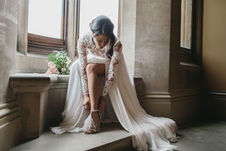 Jimmy Choo Glitter & Feather Bridal Shoes | Suzanne Neville Wedding Dress | Blush & Burgundy Floral Fairytale Wedding Inspiration at Grittleton House Planned & Styled by Jennifer Louise Weddings | Katherine Yiannaki Photography