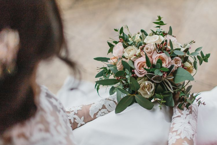 Pink Rose Wedding Bouquet | Blush & Burgundy Floral Fairytale Wedding Inspiration at Grittleton House Planned & Styled by Jennifer Louise Weddings | Katherine Yiannaki Photography