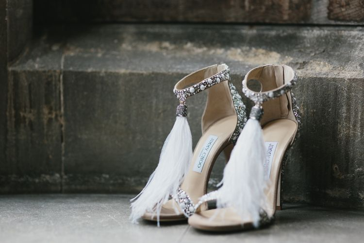 Jimmy Choo Silver Sequin & Feather Wedding Shoes | Blush & Burgundy Floral Fairytale Wedding Inspiration at Grittleton House Planned & Styled by Jennifer Louise Weddings | Katherine Yiannaki Photography
