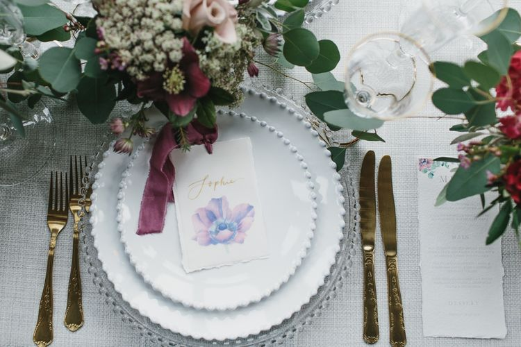 Place Setting with Tableware by Duchess & Butler | Blush & Burgundy Floral Fairytale Wedding Inspiration at Grittleton House Planned & Styled by Jennifer Louise Weddings | Katherine Yiannaki Photography