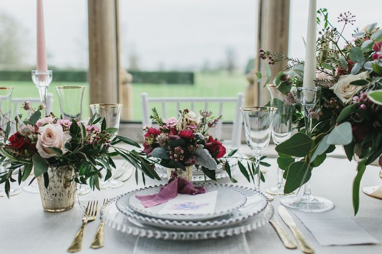 Reception Table Place Setting with Tableware by Duchess & Butler | Blush & Burgundy Floral Fairytale Wedding Inspiration at Grittleton House Planned & Styled by Jennifer Louise Weddings | Katherine Yiannaki Photography