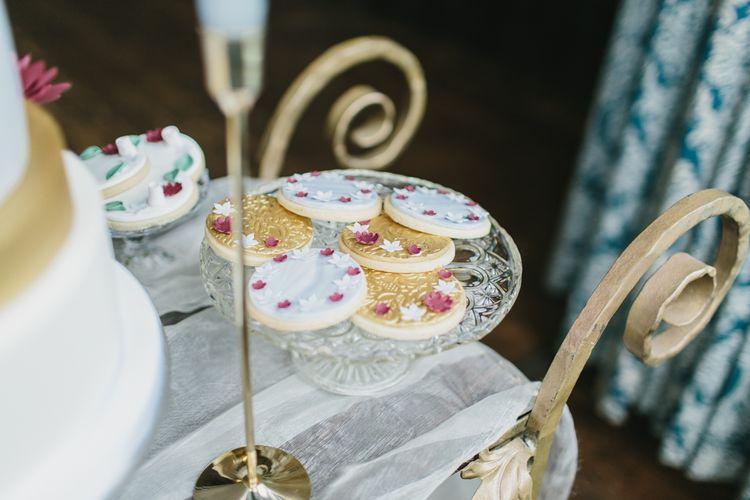 Lindsay Pemberton Wedding Biscuits | Blush & Burgundy Floral Fairytale Wedding Inspiration at Grittleton House Planned & Styled by Jennifer Louise Weddings | Katherine Yiannaki Photography