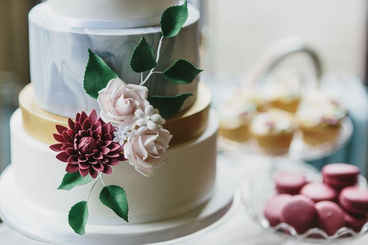 Marble Tier Wedding Cake by Lindsay Pemberton | Blush & Burgundy Floral Fairytale Wedding Inspiration at Grittleton House Planned & Styled by Jennifer Louise Weddings | Katherine Yiannaki Photography