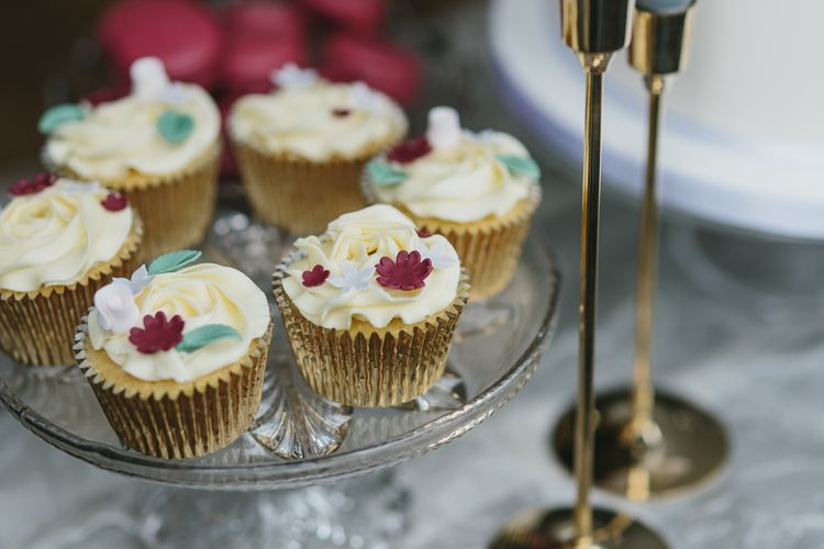 Cupcakes by Lindsay Pemberton | Blush & Burgundy Floral Fairytale Wedding Inspiration at Grittleton House Planned & Styled by Jennifer Louise Weddings | Katherine Yiannaki Photography