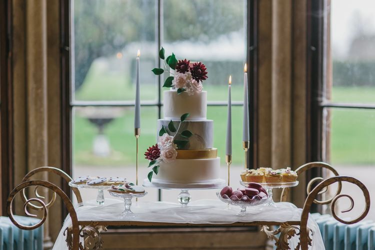 Dessert Table with Wedding Cake & Treats by Lindsay Pemberton | Blush & Burgundy Floral Fairytale Wedding Inspiration at Grittleton House Planned & Styled by Jennifer Louise Weddings | Katherine Yiannaki Photography