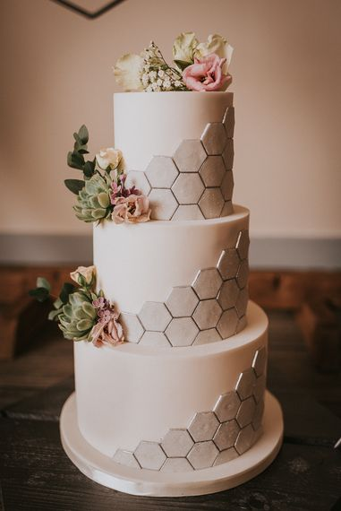 Three Tier White Wedding Cake with Silver Hexagonal Honeycomb Effect