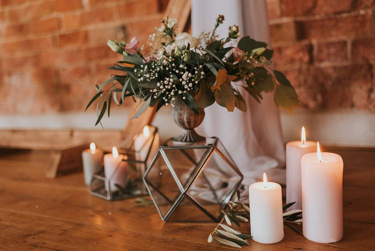 Church Candles and Geometric Floral Arrangement Stand
