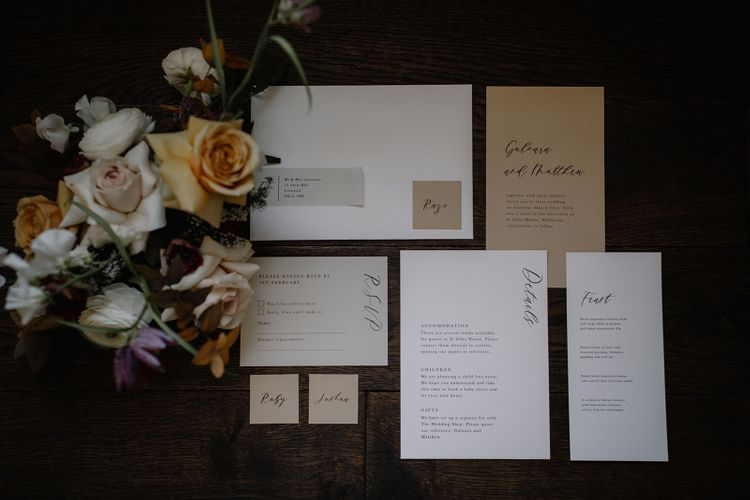Minimalist Wedding Stationery Suit by Sincerely May with Calligraphy Font