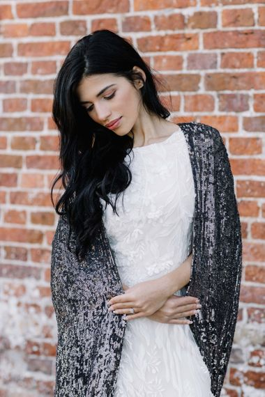 Beautiful Bride in Black Sequin Bridal Coverup