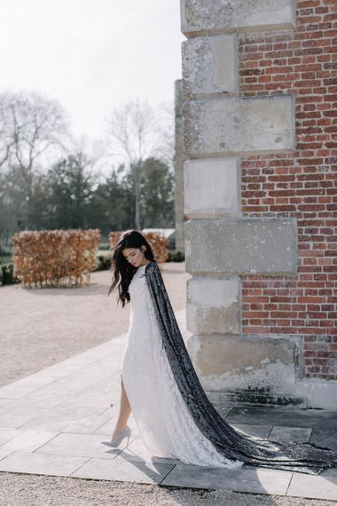 Bride in Long Black Sequin Bridal Cape