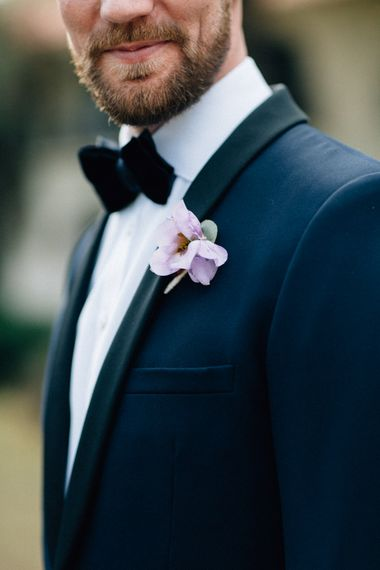 Delicate Groom Button Hole | YSL Black Tie Suit | Colourful, Sophisticated,  Outdoor Wedding at Is Morus Relais in Southern Sardinia, Italy |  Greg Funnell Photography