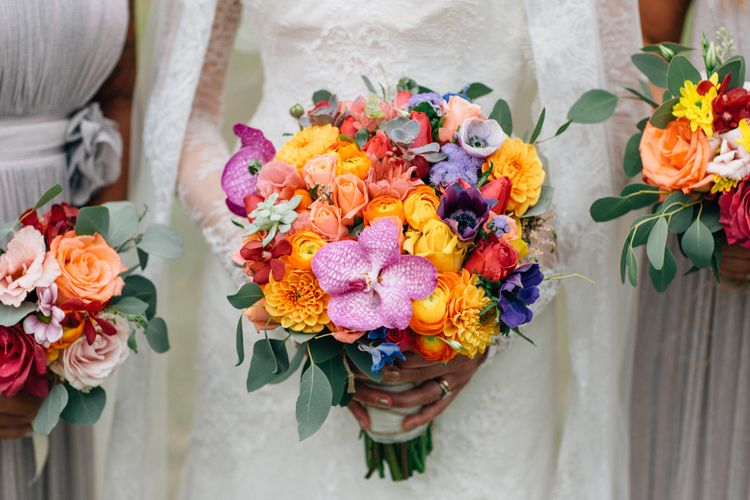 Colourful Bridal Bouquet with Orchids, Dahlias and Roses | Colourful, Sophisticated,  Outdoor Wedding at Is Morus Relais in Southern Sardinia, Italy |  Greg Funnell Photography