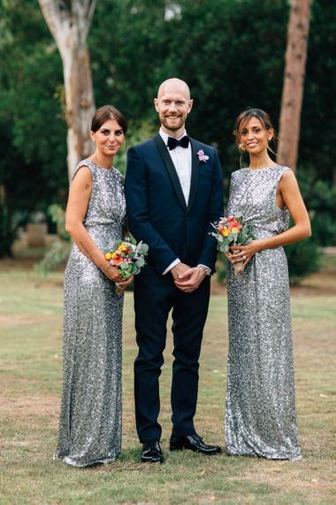 Groom in Black Tie | Maid of Honours in Grey Sequin No. 1 by Jenny Packham Gowns | Colourful, Sophisticated,  Outdoor Wedding at Is Morus Relais in Southern Sardinia, Italy |  Greg Funnell Photography