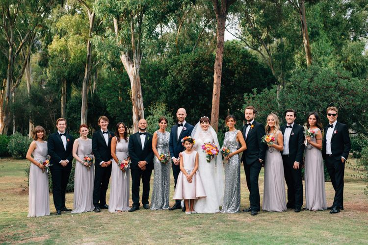 Wedding Party | Groomsmen in Black Tie | Bridesmaids in Grey Debut Dresses | Colourful, Sophisticated,  Outdoor Wedding at Is Morus Relais in Southern Sardinia, Italy |  Greg Funnell Photography