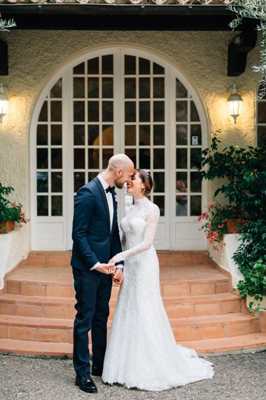 Bride in Bespoke Lace Wedding Dress | Groom in YSL Black Tie Suit | Colourful, Sophisticated,  Outdoor Wedding at Is Morus Relais in Southern Sardinia, Italy |  Greg Funnell Photography
